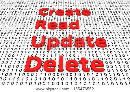 create read update delete binary code 3D illustration
