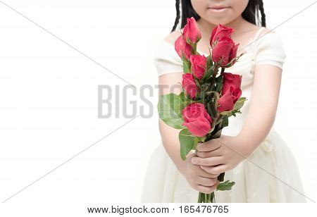 red rose bouquet in little hand girl isolated on white background gift for Valentine's Day