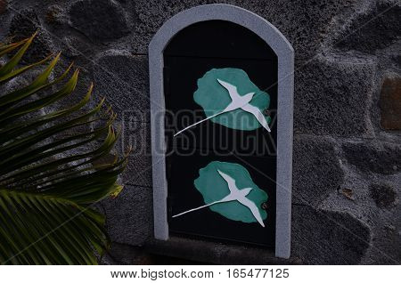Letter Box Tropical reunion Island Green White Bird Exotic