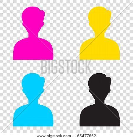 User Avatar Illustration. Anonymous Sign. Cmyk Icons On Transpar