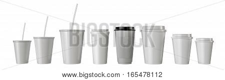 Many fast food paper cups isolated. 3d render illustration.
