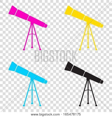 Telescope Simple Sign. Cmyk Icons On Transparent Background. Cya