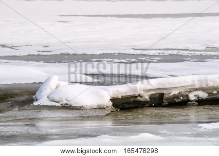 Ice And Snowtexture On The River