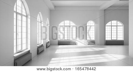 White empty loft interior. 3D render illustration
