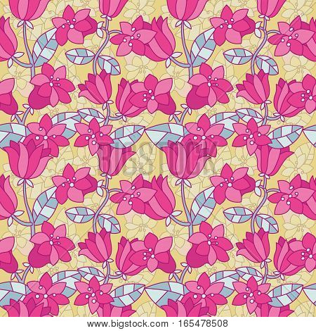 Awesome flourish seamless pattern with violets in vector. Bright spring design with hand drawn flowers for greeting cards, textile or scene decoration