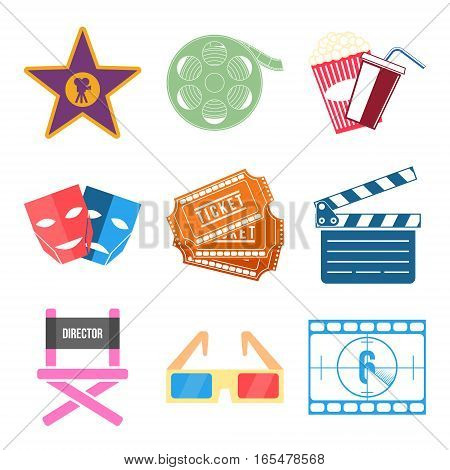 Set of Movie Icons Flat design Vector Illustration