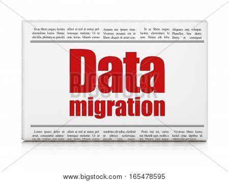 Information concept: newspaper headline Data Migration on White background, 3D rendering