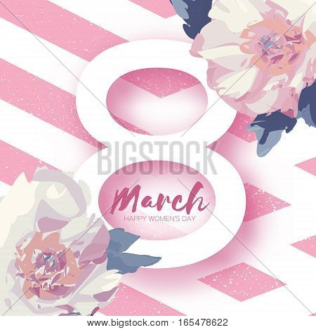 Showy Bouquet White Peony Flowers. Beautiful Floral Greeting card with Paper cut eight and space for text. Origami 8 March. International Happy Women's Day. Stripes background.Vector illustration
