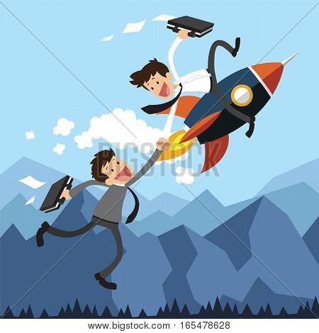 Startup Business. Businessman Assistance by rocket. Flat design business concept illustration.