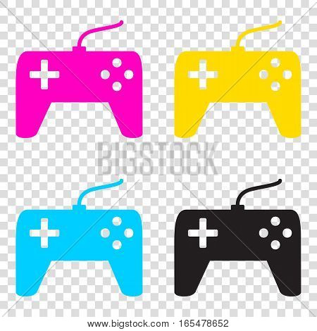 Joystick Simple Sign. Cmyk Icons On Transparent Background. Cyan
