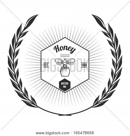 Vintage frame with Honey label template Vector Illustration