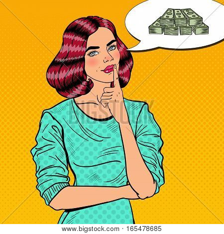 Pop Art Young Beautiful Woman Thinking about Money. Vector illustration