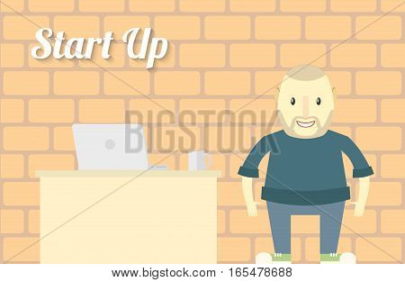Flat design Start up Background Character with Notebook Vector