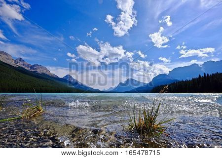 Blue lake and rocky mountains. Waterfowl Lake in Banff National Park. Canadian Rocky Mountains. Alberta. Canada.