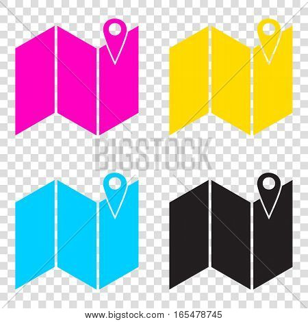 Pin On The Map. Cmyk Icons On Transparent Background. Cyan, Mage