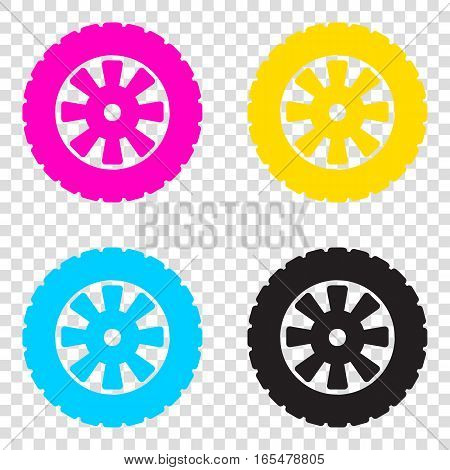 Road Tire Sign. Cmyk Icons On Transparent Background. Cyan, Mage