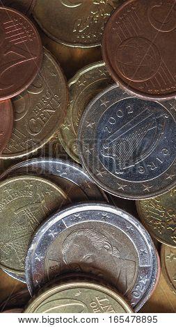 Euro Coins Flat Lay - Vertical