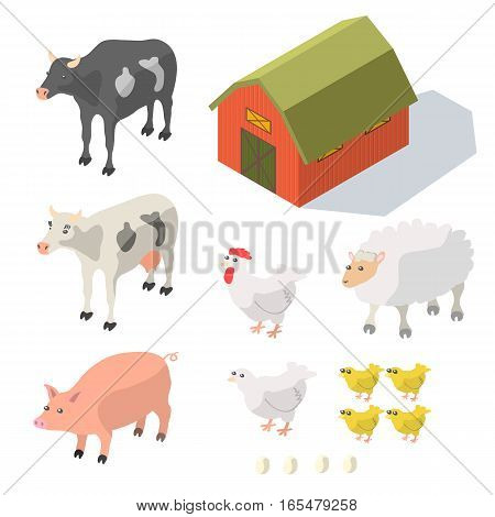 Isometric Farm Animals Isolated on White Vector illustration