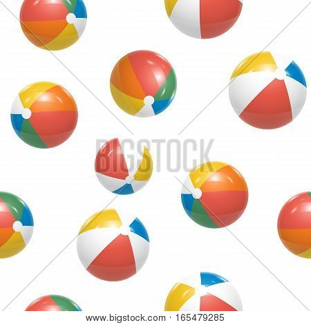 Colorful Beach balls Seamless Pattern Vector illustration