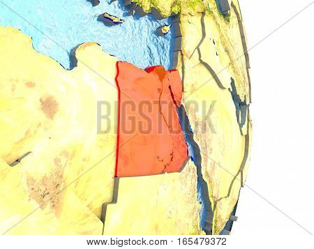 Egypt In Red On Earth