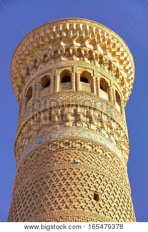 BUKHARA, UZBEKISTAN: Architectural detail of the Poy Kalon minaret
