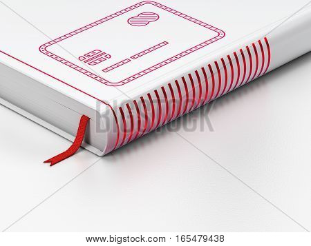 Money concept: closed book with Red Credit Card icon on floor, white background, 3D rendering