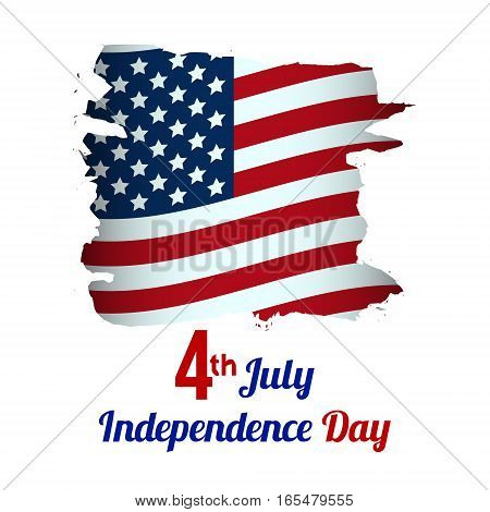 4th of July, American Independence Day grungy wave in national flag colors on white background. vector