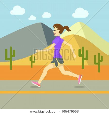 Running Women, Sport Exercising Flat Design Vector illustration