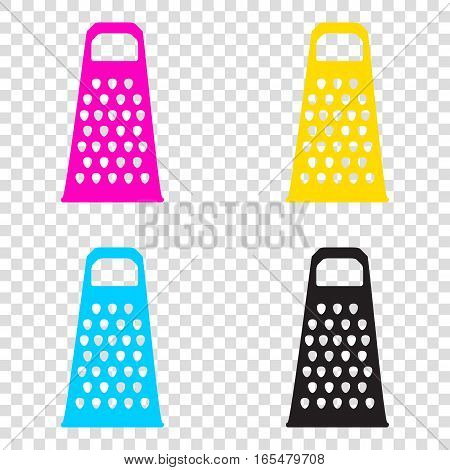 Cheese Grater Sign. Cmyk Icons On Transparent Background. Cyan,