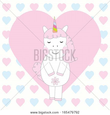 Valentine's Day card with cute pink unicorn on love background suitable for Valentine's Day greeting card, invitation card, and postcard
