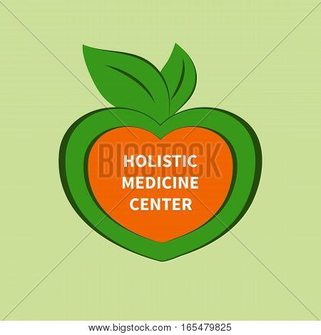 Logo, icon holistic medical center. Symbol of caring about health, unity with nature. Heart with green leaves. Vector illustration.