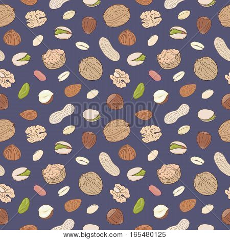 Seamless pattern with shelled and whole walnuts, peanuts, almonds, pistachios, hazelnuts. Hand drawn nuts vector seamless pattern, eps10. For backgrounds, packaging, ads, labels and other designs.