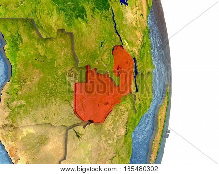 Zambia In Red On Earth