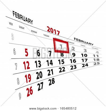 February 1 highlighted on 2017 calendar. Vector Illustration.