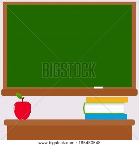 Vector Illustration of a green board and a teacher's desk with books and an apple in the classroom.