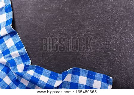 Checkered Tablecloth On Dark Background