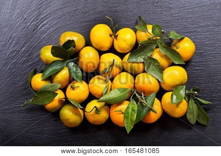 Mandarin Oranges Fruit With Leaves