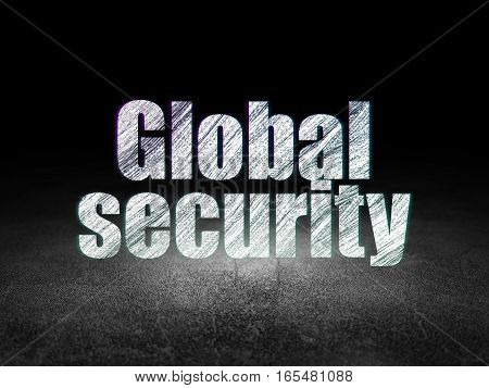 Safety concept: Glowing text Global Security in grunge dark room with Dirty Floor, black background
