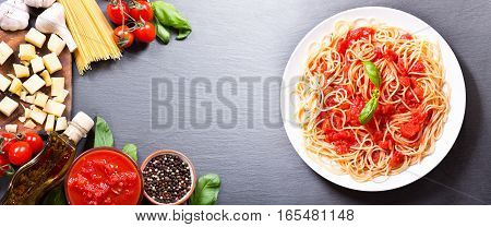 Pasta With Tomato Sauce With Ingredients