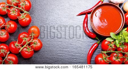 Bowl Of Tomato Soup With Fresh Vegetables