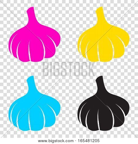 Garlic Simple Sign. Cmyk Icons On Transparent Background. Cyan,
