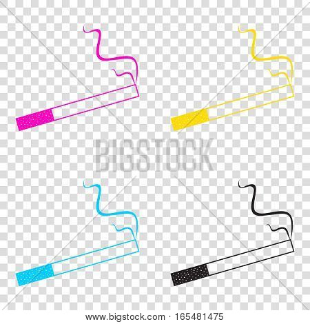 Smoke Icon Great For Any Use. Cmyk Icons On Transparent Backgrou