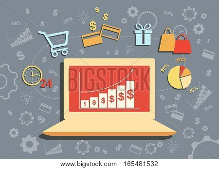Flat design vector illustration poster concept with icons of buying product via online shop and e-commerce ideas symbol