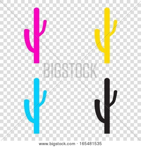 Cactus Simple Sign. Cmyk Icons On Transparent Background. Cyan,