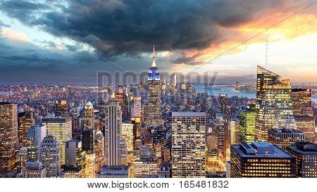 Downtown of New York Manhattan at sunset