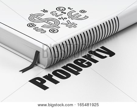 Business concept: closed book with Black Finance Symbol icon and text Property on floor, white background, 3D rendering