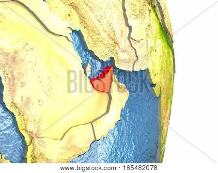 United Arab Emirates In Red On Earth