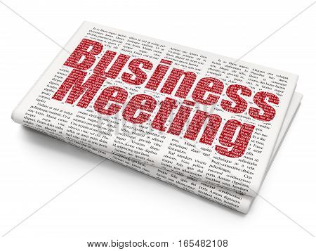 Business concept: Pixelated red text Business Meeting on Newspaper background, 3D rendering