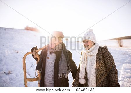 Beautiful senior woman and man carrying sled, having fun in sunny winter nature.