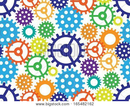 Seamless background from gears. Cogwheels of different color form the abstract mechanism.